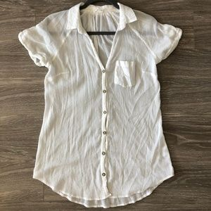 Anthropologie Hei Hei Gauze Sheer Cotton Button Up